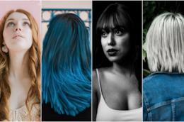 Collage di tagli di capelli: frange, colori bold, lunghi, medi