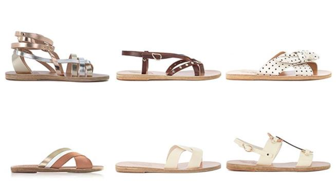 Sandali bassi beige, avorio e bianco di moda estate 2018