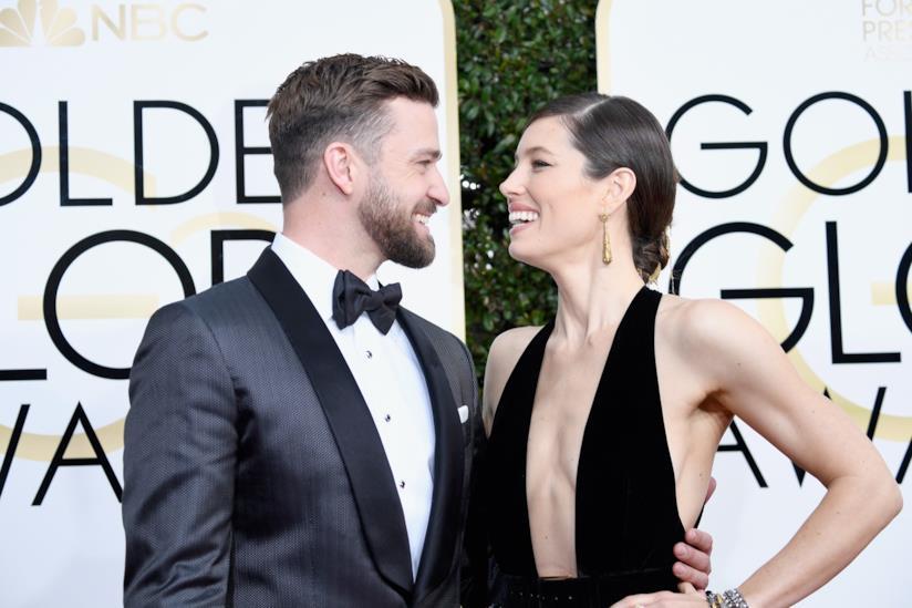 La popstar Justin Timberlake insieme all'attrice Jessica Biel