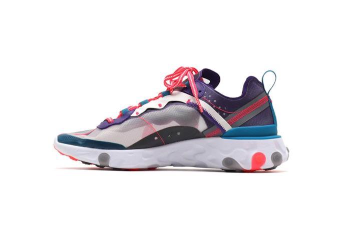 Sneaker Nike React Element nei colori rosa, viola, rosso e blu