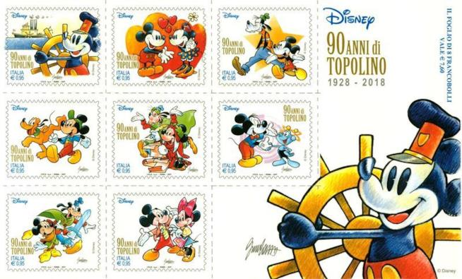 I francobolli per i 90 anni di Topolino