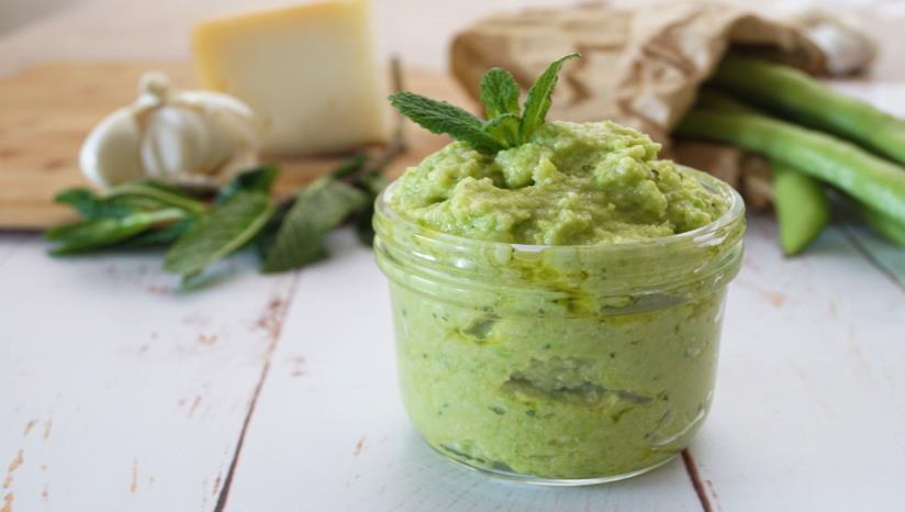 Baratolino con crema di legumi verdi
