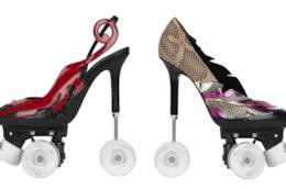 Un paio di scarpe YSL con le ruote