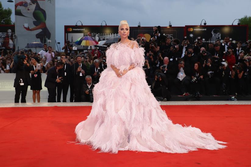 Lady Gaga in rosa piumato