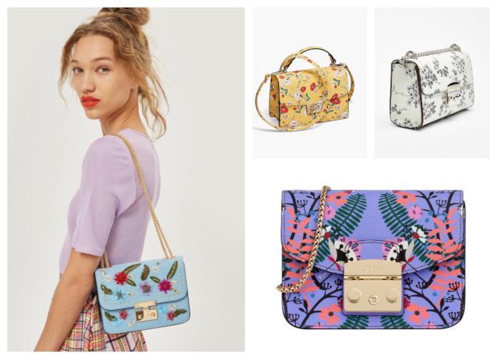 Le borse a tracolla con la stampa floreale moda estate 2018