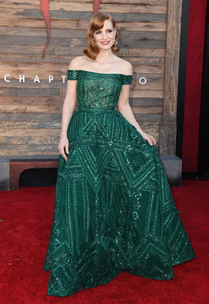 Jessica Chastain sul red carpet in abito verde