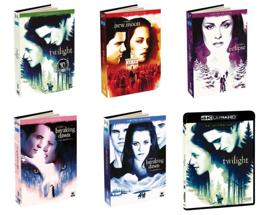 Digibook DVD e Blu-Ray dei film di Twilight