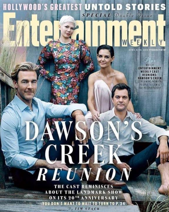 La copertina di EW con il cast di Dawson's Creek