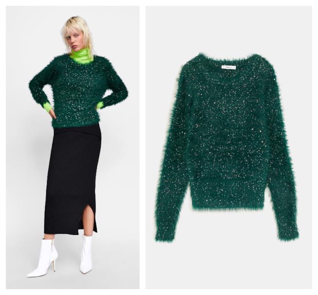 Pullover con le paillettes verde di moda per l'A/I 2018-19