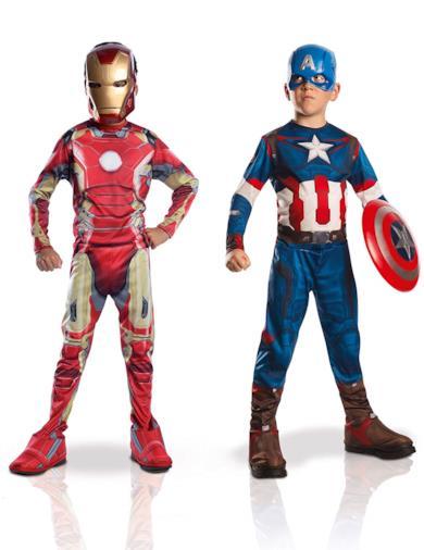 Costumi per bambini, Set da 2 pezzi, Capitan America + Iron Man