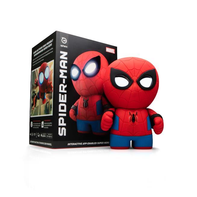 Il giocattolo di Sphero a forma di Spider-Man con la scatola d'imballaggio