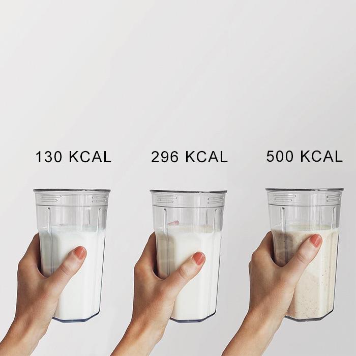 Tre smoothies dal diverso apporto calorico