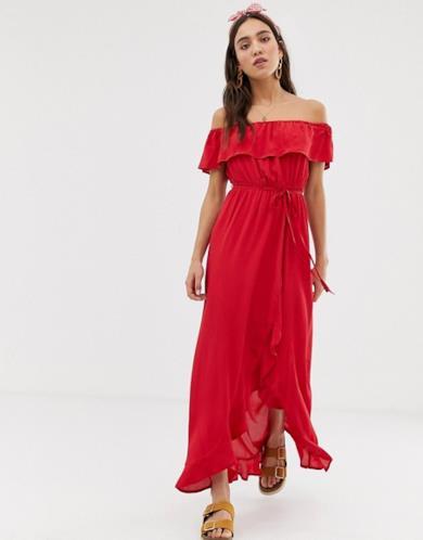 Vestito lungo rosso con scollo alla Bardot