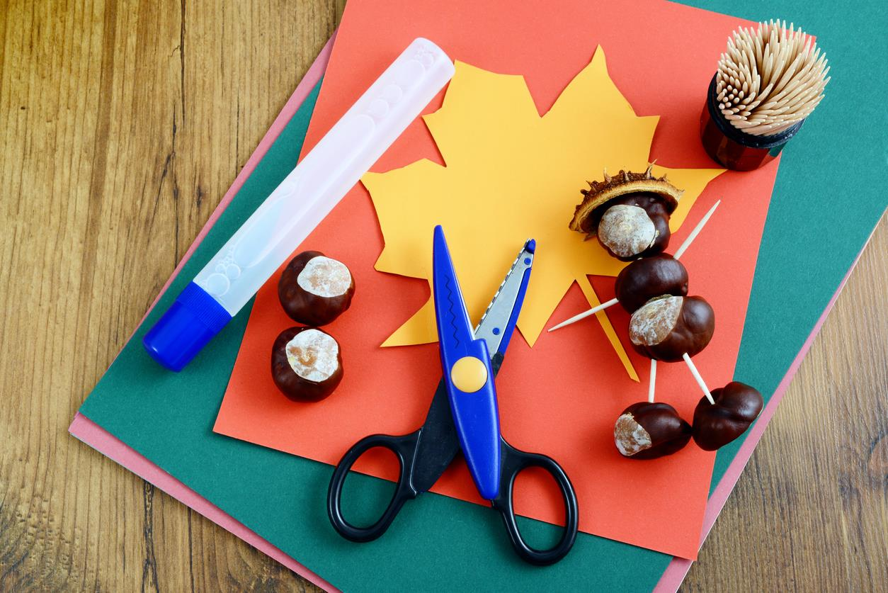 Idee Creative Per Bambini : Autunnali e idee creative per bambini u foto stock