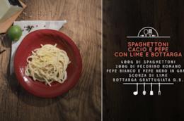 Spaghettoni cacio e pepe con lime e bottarga