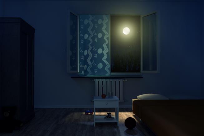 Camera da letto immersa nel buio