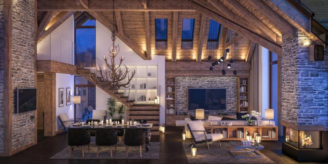 Soggiorno di una casa di montagna in stile moderno