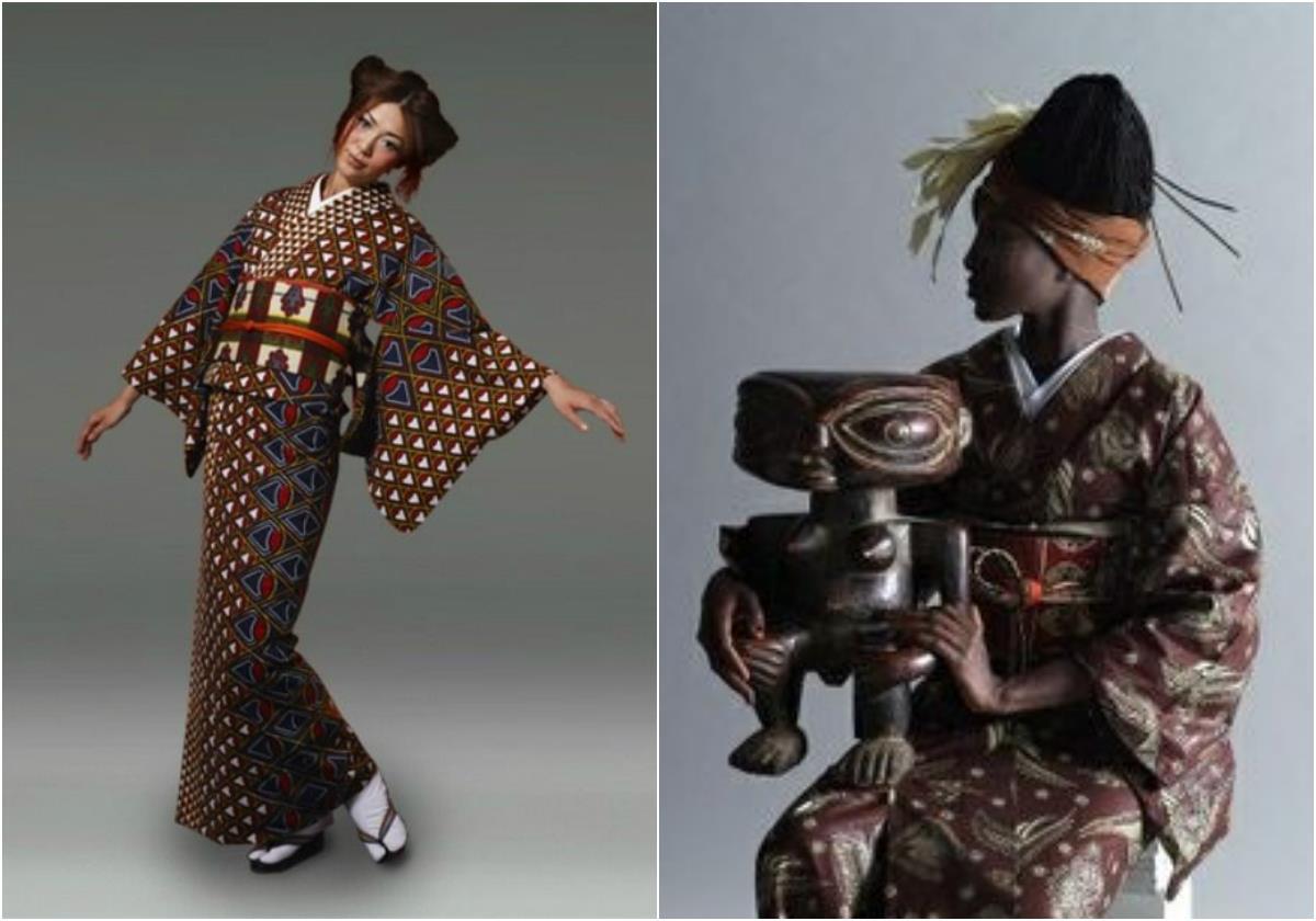 Un collage di dettagli di kimono marrone e rosso
