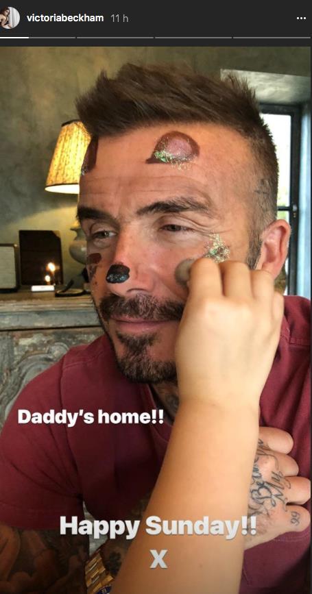 David Beckham truccato dalla figlia su Instagram