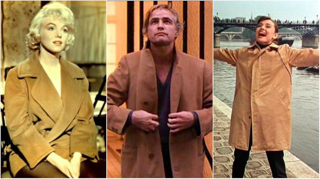 Marilyn Monroe, Marlon Brando e Audrey Hepburn in cappotto cammello