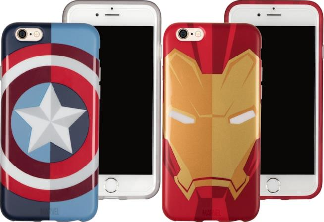 Due cover per iPhone decorate con lo stemma di Captain America e il casco di Iron Man
