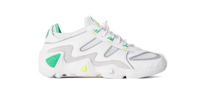 Scarpa da running Adidas bianca con contrasti giallo e verde neon