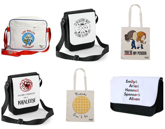 Collage di borse con citazioni serie TV