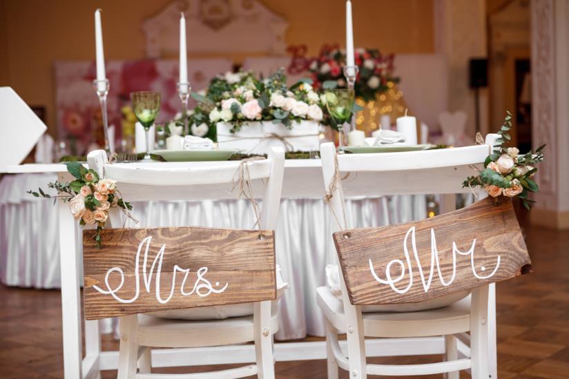 Cartellio Mr e Mrs matrimonio da mettere sulle sedie