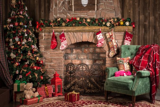 Sala decorata in stile rustico con un albero di Natale verde
