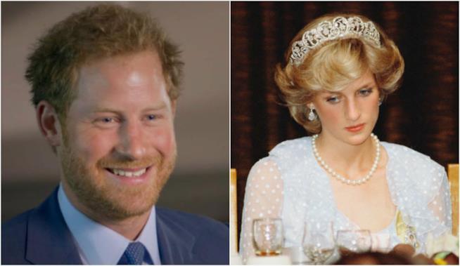 Un collage tra Harry e la principessa Diana