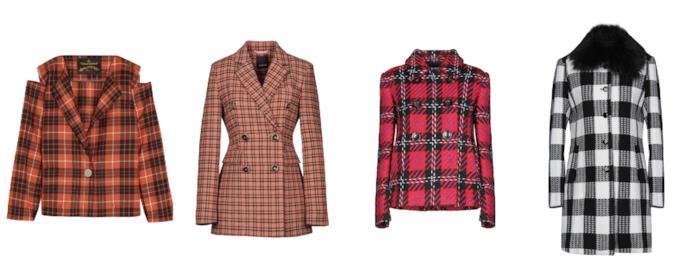 Blazer e cappotti a quadretti scozzesi di moda per l'A/I 2018-19