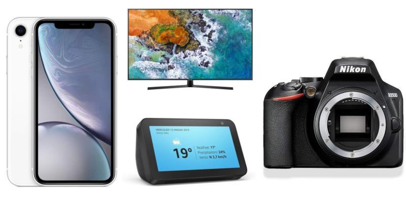 iPhone, tv Samsung, Amazon echo, fotocamera Nikon