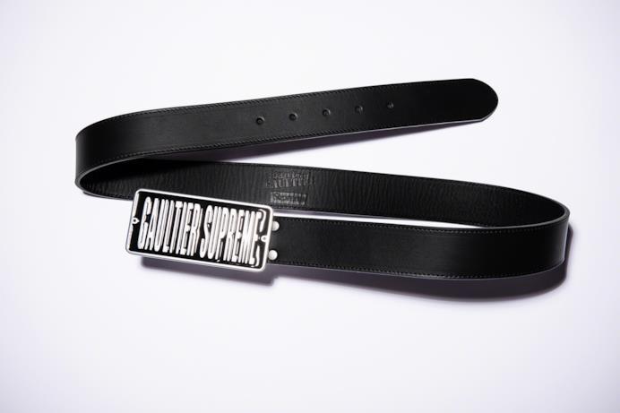 Cintura in pelle nera con fibbia Supreme/Gaultier