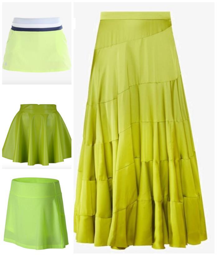 Modelli di gonne color lime