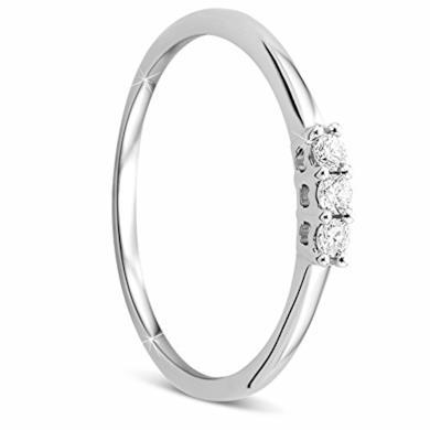 Orovi Anello Donna Trilogy con Diamanti taglio brillante Ct 0.09 in oro Bianco 9 kt 375