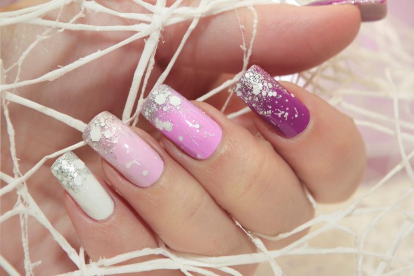 Nail art silver e rosa super romantica