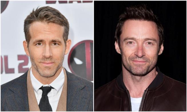 Ryan Reynolds e Hugh Jackman in un collage