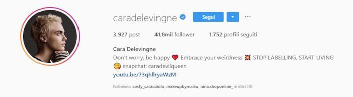 Profilo Instagram Cara DeLevigne