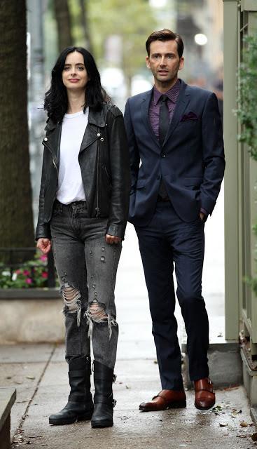 David Tennant e Kryster Ritter durante le riprese di Jessica Jones 2