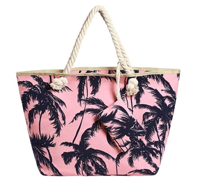 Borsa rosa tropical con manici di corda