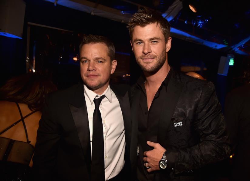 Gli attori Chris Hemsworth e Matt Damon