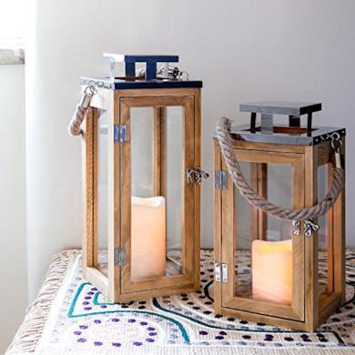 Lanterna in legno con candela LED a pile e manico di corda