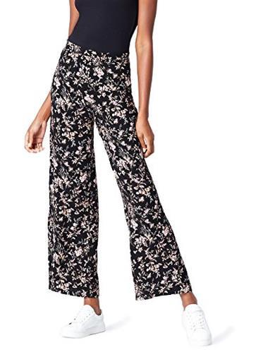 Pantaloni bianco e neri a fiori con taglio palazzo