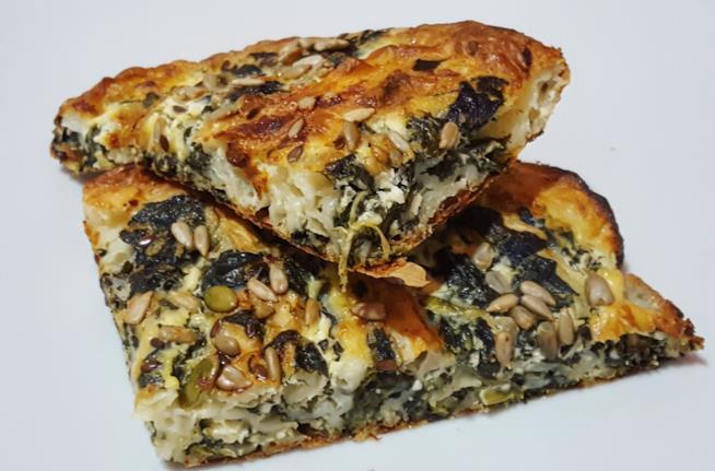Fetta di torta con spinaci