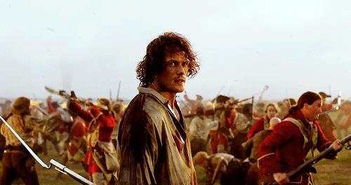 Jamie a Culloden guarda determinato