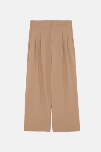 Pantaloni a pieghe cammello
