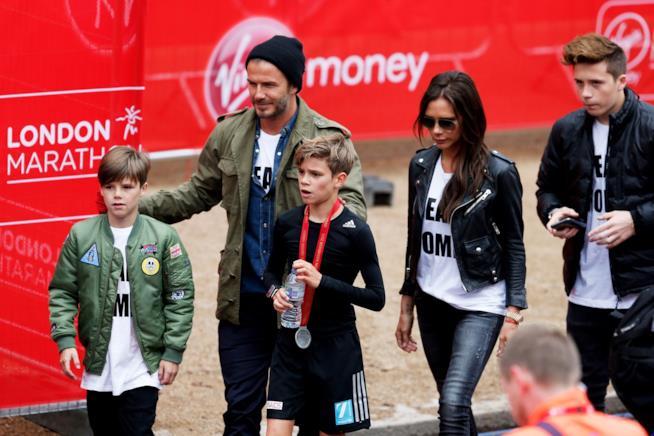 David Beckham e Victoria con i loro figli maschi