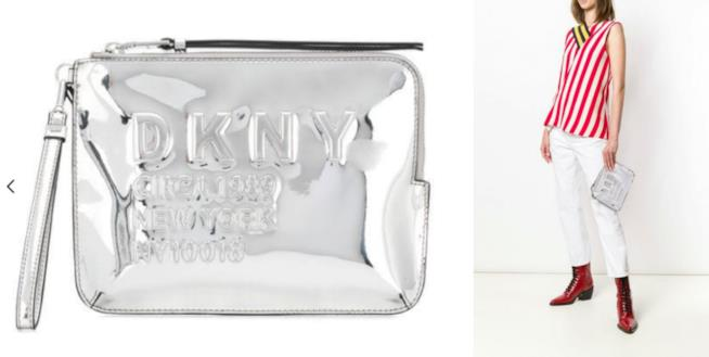 Collage tra Borsa DKNY e borsa tenuta a mano