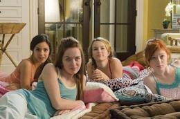 Ragazze in pigiama durante la visione di un film