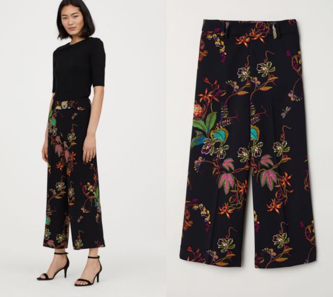 Pantaloni H&M cropped con fiori e piante
